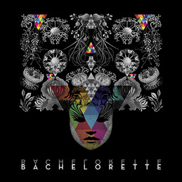 the cover of Bachelorette's new album. it is black with white illustrations of flowers and a woman's face. there are rainbow-colored triangles throughout.