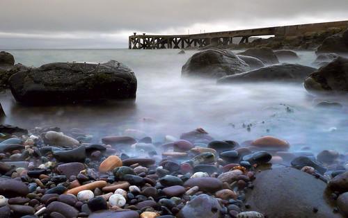 Pebbles and pier Portencross 23Feb09