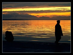 stand by me... (maios) Tags: travel sunset sea sky woman cloud mountain man beach water port greek photo europa europe flickr mediterranean photographer hellas explore greece macedonia thessaloniki fotografia salonica manikis maios makedonia iosif  heliography                iosifmanikis