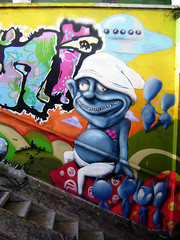 psychosmurf (mrzero) Tags: streetart color detail eye art mushroom colors face lines wall effects graffiti mural paint hungary character eger letters style meeting tunnel ufo spray human styles colored spraypaint graff smurf smurfs sine cfs hepi mrzero