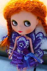 lila (cybermelli) Tags: winter red orange snow cold river hair costume wings doll jane mary fairy mohair blythe gr custom takara maryjane matte gentle rbl myownlittleworld