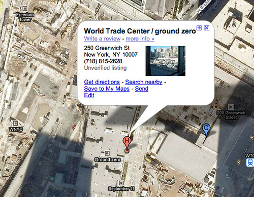 Ground Zero on Google Maps