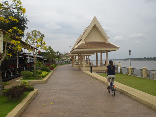 Biking down the promenade in Nong Khai