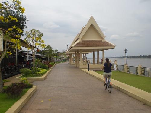 Biking down the promenade in Nong Khai