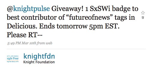 Twitter Knight Foundation: @knightpulse Giveaway! 1 S ...
