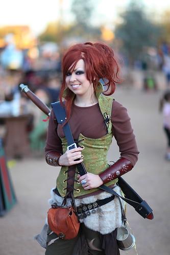 Red Headed Fantasy Warrior girl with long sword AZ Ren Fest