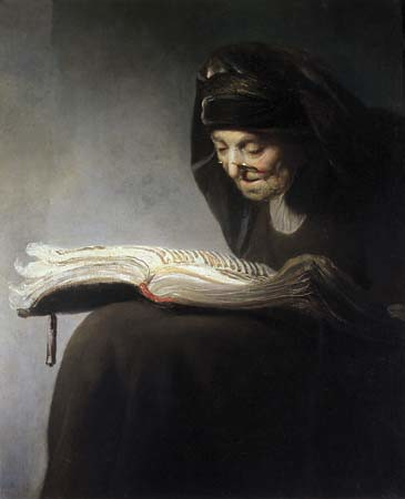 Rembrandt van Rijn, Rembrandt's Mother Reading, 1629 by Gatochy