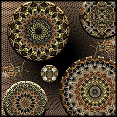 The Kaleidoscope Bug - Catch It! (Lyle58) Tags: abstract art geometric nature yellow circle insect design artwork colorful wasp kaleidoscope mandala symmetry zen harmony reflective