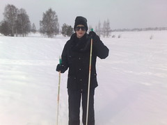 Sanna out skiing