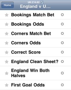 Betfair betting page