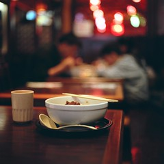 Noodle for Lunch (Inside_man) Tags: people food newyork 120 6x6 mamiya tlr c220 film colors mediumformat colorful bokeh manhattan citylife spoon ramen chopsticks teacup portranc porkrib noodleforlunch