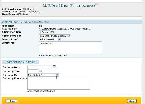 Screenshot of MAR Data page with administration followup section.
