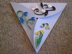 Blue triangular card (Gregelope) Tags: flowers colour beautiful cards craftsmanship papercraft quilling