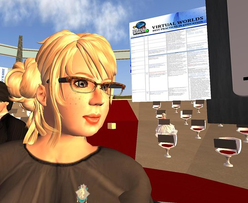 Stella Costello speaking at the Virtual Worlds Best Practices in Education conference by Bettina Tizzy.
