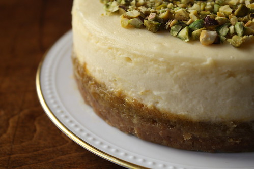 Cheesecake with Mango Filling and Pistachios