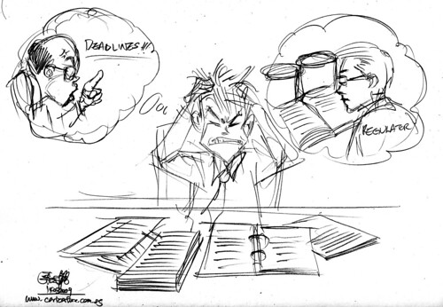Cartoon illustration - Review materials pencil sketch