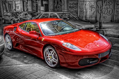 Ferrari F430 in Madrid, HDR (marcp_dmoz) Tags: madrid auto city red españa rot car canon reflections eos spain rojo ciudad ferrari f coche stadt rosso spiegelung 2009 hdr spanien reflejos f430 430 lkw sportwagen interestingness3 50d explore03may09