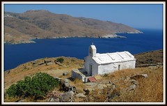 Overseeing the Aegean Sea or,  white over the blue... (n.pantazis) Tags: blue sea white church island aegean andros aegeansea korthi