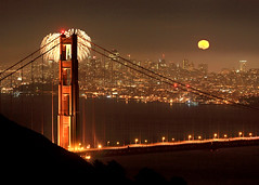Full Moon and Fireworks (Rob Kroenert) Tags: sanfrancisco california bridge usa moon skyline night golden gate long exposure pyramid display fireworks marin kaboom full goldengatebridge moonrise headlands transamerica kfog