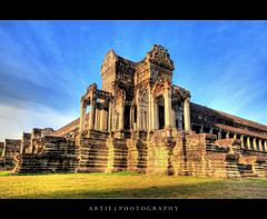 Angkor Wat, Siem Reap, Cambodia (I) :: HDR (:: Artie | Photography ::) Tags: building classic stone architecture stairs photoshop canon temple ancient sandstone cambodia khmer state cs2 steps wideangle angkorwat structure symmetry handheld symmetrical 1020mm siemreap pillars hdr artie angkorvat 12thcentury 3xp sigmalens photomatix tonemapping tonemap 400d rebelxti suryavaman