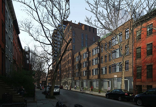 Plans for 12th Street include modern townhouses, meant to create a more natural transition between the surrounding neighborhood and the taller buildings.