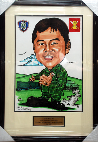 Caricature for Singapore Armed Forces frame with engraving