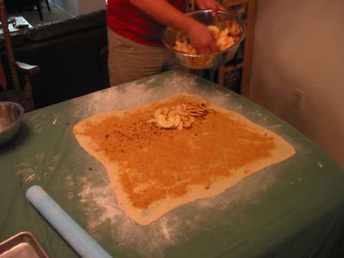 Apple Strudel - Filling the dough