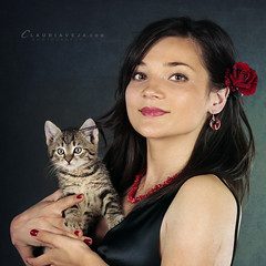 Little visitor (claudiaveja) Tags: boy red woman girl rose lady cat photography pretty sweet gorgeous stock young kitty images concept transylvania cluj royaltyfree brunet rightsmanaged claudiaveja rightmanaged
