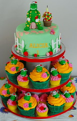 Dorothy the Dinosaur Cupcake Tower (TheLittleCupcakery) Tags: birthday red roses white black green tower cake silver dorothy dinosaur alicia little cupcake wiggles tlc fondant the cupcakery cachous xirj klairescupcakes