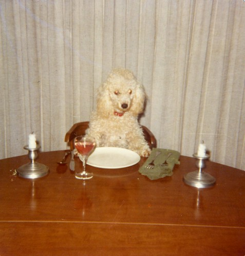 Carmel waiting for a fancy dinner - sometime in 1976