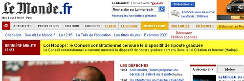 Conseil Constitutionnel censure HADOPI sur LeMondeFR