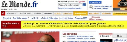 Conseil Constitutionnel censure HADOPI sur LeMondeFR