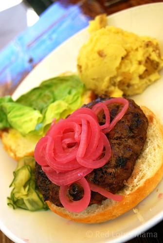 buffalo burger & garlic mash