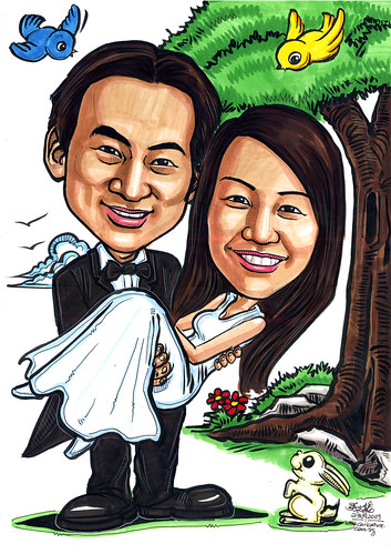 Wedding couple caricatures colour A4