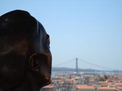 Looking at the city (Gabrielle Z) Tags: city bridge portugal statue poetry lisboa lisbon horizon miradourodagraa sophiademellobreyner theturntable gabriellez