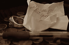 I Will Always Love You (BKHagar *Kim*) Tags: sepia pen writing al alabama ring note change elkriver athensal bkhagar ispym