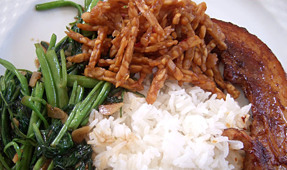 Tempeh goreng, kangkung and pork belly with steamed rice