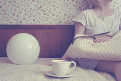 (_acido) Tags: flowers light white cup lamp shirt vintage paper soft tea room blond blanket canoneos450d