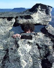 Hole in a Rock, 1980 (NettyA) Tags: park film 35mm sandstone australia slide national bushwalking nsw scanned newsouthwales kodachrome wilderness redrock 1980 wollemi pantoneyscrown konicat3 gardensofstone bushwalker greaterbluemountains janettetomsett