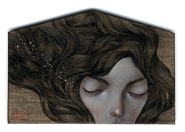 "Hope. Wish. 4""x6"". Acrylic & Colored Pencil on Wood (Ema plaque). © 2011."
