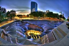Sunset at the Water Gardens (Shawn O'Connell Photography) Tags: sunset color water garden nikon downtown texas fisheye watergardens hdr fortworth d90 downtownfortworth top20texas shawnoconnell shawnoconnellphotography