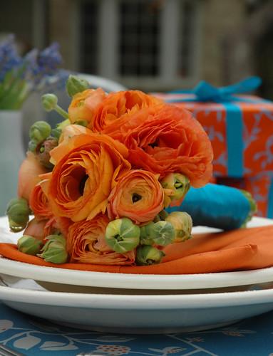 orange ranuncula bouquet