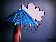 Mr. Finger Hates Rain. [EXPLORED] (olivia house) Tags: blue portrait people cloud selfportrait canada silly macro cute art face rain weather umbrella portraits newfoundland paper creativity person march funny hand faces olivia artistic drawing finger fingers creative adorable samsung mini artsy portraiture series adventures conceptual selfphoto 2009 clever shocked fingerpeople fingerperson mrfinger oliviahouse