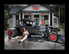 Waiting At The Gulf Station (Rat Rod Studios) Tags: girls sitting gulf gas gasstation hotrod lucisart lucis ratrodstudios