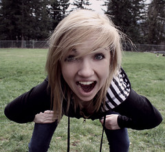 YAH (kelsitakespictures) Tags: black girl hair crazy wind stripes teeth excited blond blackjacket yah kelsi ilylulz