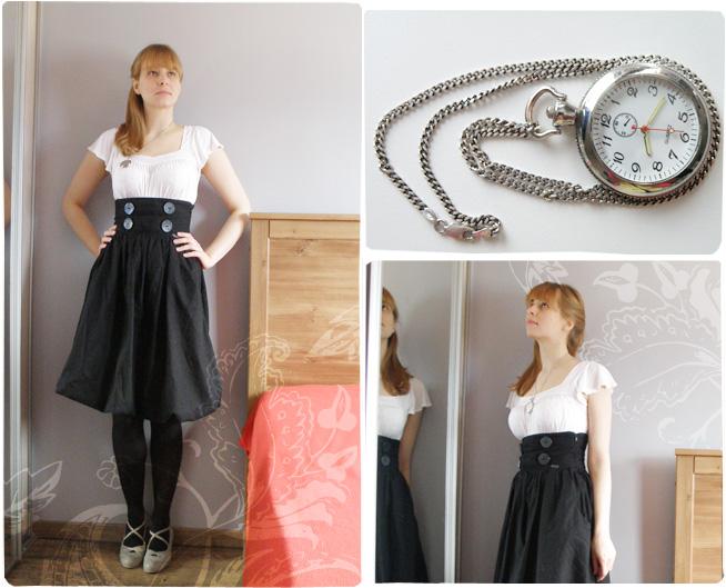 marchewkowa.blogspot.com, j.z., fashion blog, moda 2009, Numph, H&M, stary zegarek, zegarek kopertowy, szafiarka, black&white