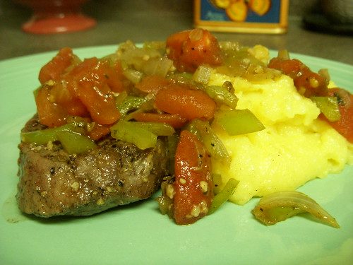 steak and polenta