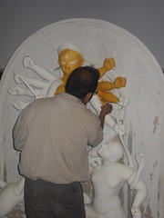 Painting Durga (MuseumWales) Tags: india colour history make st statue festival museum wales 1 model worship lotus goddess craft holy collections welsh shiva hindu durgapuja bengali oriel pandal mahishasura contemporaty tenhands fagansnational chakkhudaan ornatemothergodess