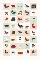Mid-Century Modern Furniture Poster (Warm) (James Provost) Tags: home modern illustration vintage print poster furniture editorial illustrator bertoia noguchi eames midcentury vanderrohe editorialillustration