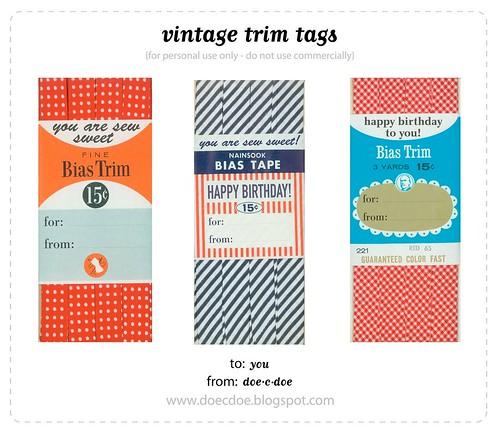 vintage trim tags